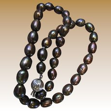 """16"""" Semi-Baroque Peacock Cultured Freshwater Pearl Necklace, Sterling Clasp, 10mm pearls"""