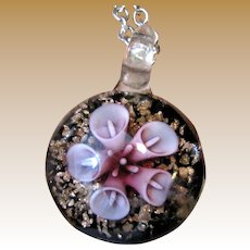 Venetian Art Glass Pendant on Silver-tone Chain