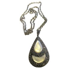 Large Art Deco Style Sterling, Marcasite & Mother of Pearl Pendant Necklace