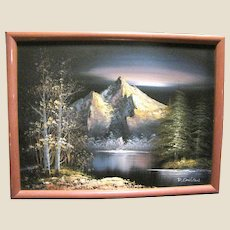 Vintage Acrylic on Canvas of Mountains, Signed D. Carlton