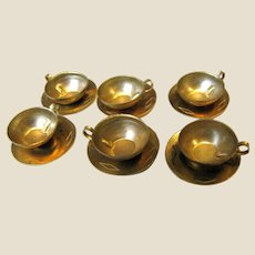Six Doll Size Vintage Brass Cup & Saucer Sets