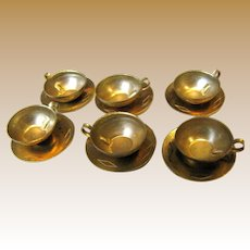 Six Doll Size Vintage Brass Cup & Saucer Sets