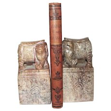 Hand Carved ChineseSoap Stone Elephant Statues orSmall Bookends
