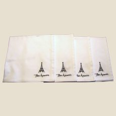 "Four 20"" Square ""Bon Appetit"" Cotton Twill Napkins"