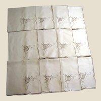 "Twelve 16"" Taupe Floral Embroidered Napkins, Mint"