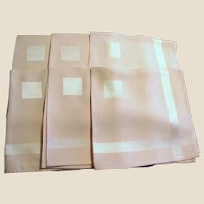 "Six Art Deco Pink Rayon 16"" Napkins"