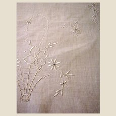 "Prettiest 1920's 40"" Linen Runner, Flower Baskets & Butterflies!"