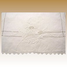 Matched Pair of Art Deco Linen Embroidered Floral Runners
