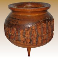 Unusual Vintage PrimitiveWooden Bowl w/ Rustic Natural Bark and Legs