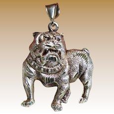 Large Vintage Sterling Bulldog Pendant, 13 grams