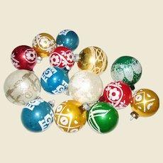14 Vintage Glass Tree Ornaments w/ Mica Stenciled Designs