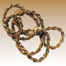 "Heavy 18"" Italian Sterling Vermeil Rope Chain, 27 Grams"