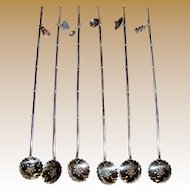 6 Sterling Silver Sipping Straws/Ice Tea Spoons w/ Charms, 57 Grams (set no 1)
