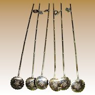 6 Sterling Silver Sipping Straws/Ice Tea Spoons w/ Charms, 57 Grams (set no 2)