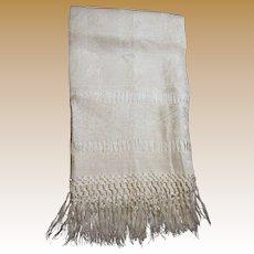 "Art Deco Heavy Linen Damask ""Show Towel"" w/ Hand Tied Fringes"