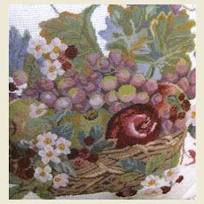 """Wool Needlepoint & Petite Point 16"""" Fruit & Floral Pillow"""