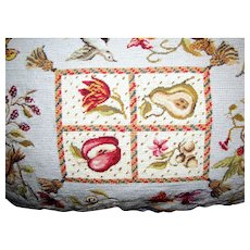 Luxurious Needlepoint & Petite Point Fruit & Birds Pillow