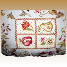 Luxurious Needlepoint & Petite Point Fruit & Birds Pillow