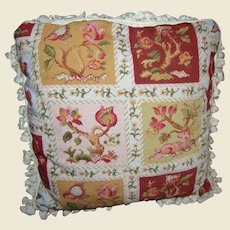 """21"""" Petite Point Pillow w/ Heraldic Beasts, Feather & Down Insert"""