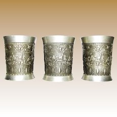 3 Vintage German Pewter Drinking Cup, Shot Size, Old World Folk Genre Scenes