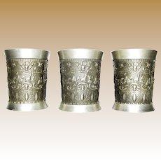 3 Vintage German Pewter Drinking Cup, Shot Size, Old World Folk Genre Scenes
