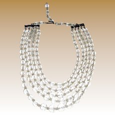 1950's 5 Strand Crystal Choker Necklace by Carmen, Bridal!