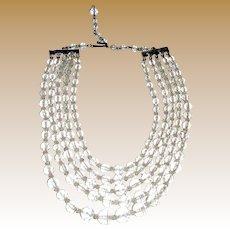 1950's 5 Strand Crystal Choker Necklace by Carmen, Bridal!