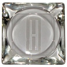 Vintage Custom Etched Personal Ashtray with H
