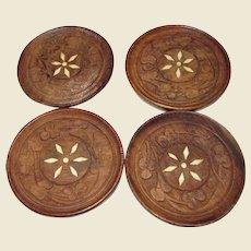 Four Bone Inlay Teak Carved Coasters