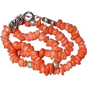 """Beautiful Coral & Sterling 18"""" Necklace, 50 Grams"""