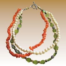 """18"""" Coral, Freshwater Pearl, Sterling & Art Glass Necklace, 134 grams"""