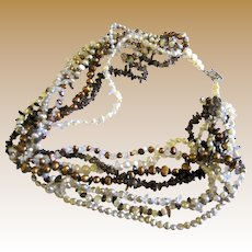 """7 Strand Quartz & Fresh Water Pearl 19"""" Necklace w/ Sterling Clasp"""