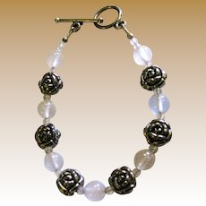 "Sterling Flower & Agate Bead 7"" Bracelet"