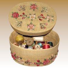 Vintage Basket Full of (65+) Wooden Cotton Spools