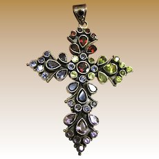 "Large 3"" Sterling & Gemstone Cross Pendant, 23 grams"