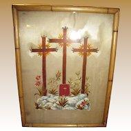 Georgian Religious Painting & Embroidery on Silk