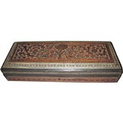 1850's Anglo-Indian Carved Sandalwood Box w/ Ornate Bone Inlays