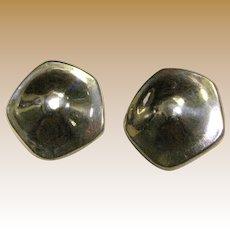 Large Modernist Sterling Silver Earrings. 12 grams