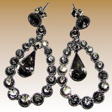 Smoky Crystal Chandelier Earrings in Japanned Setting