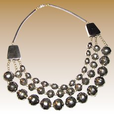 Bold 1980's 3 Strand Hammered Bead Runway Necklace