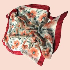 "30"" Sq Pure Silk Scarf, Lovely Large Pink Flowers!"