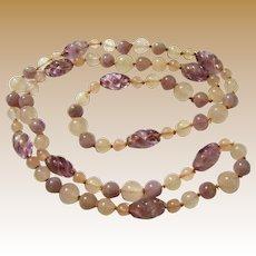 "Art Deco 30"" Hand Knotted Rose & Amethyst Quartz Necklace"