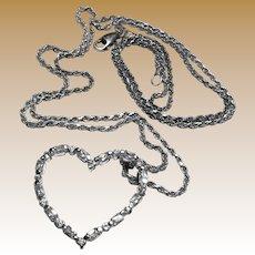 Italian Sterling Silver CZ Open Heart Pendant on Rope Chain