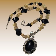 Sterling, Onyx, Golden Rutilated Quartz Necklace