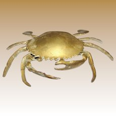 Solid Brass Crab Ashtray w/ Inner Removable Ash Holder