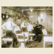 1930's Original Photo of Barber Shop, Lime Washed Frame
