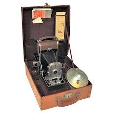 1950's Polaroid Speedliner Land Camera Model 95A w/ Case, Flash & Instructions