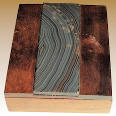 Unusual Trinket/Cigarette Box with Stone Inlay
