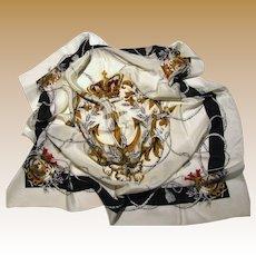 "French Crown & Anchor Design 30"" Sq Silk Scarf"
