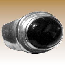 Modernist Sterling & Black Onyx Ring by ESPO, Size 9